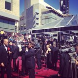 We prepared to interview celebrities on the red carpet at the Oscars. Source: Instagram user popsugar