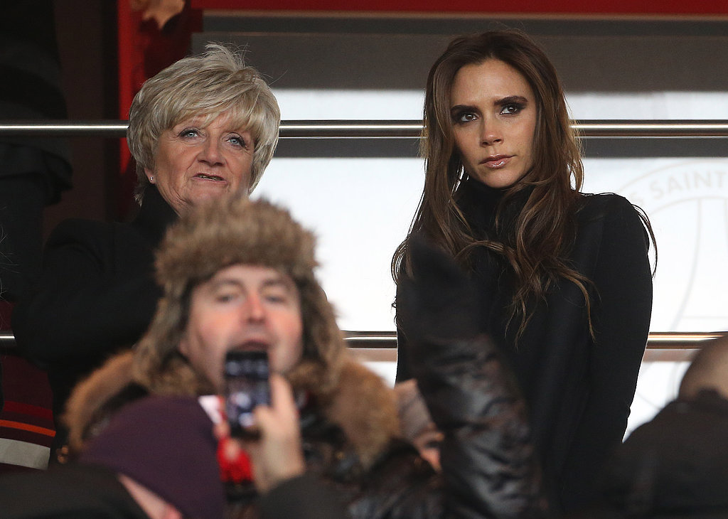 Victoria Beckham and David Beckham's mom, Sandra Beckham, cheered him on in the stands in Paris.