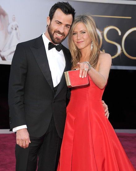 Justin Theroux and Jennifer Aniston on the red carpet at the Oscars 2013.
