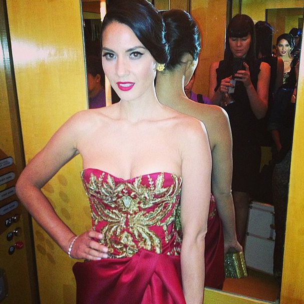 Olivia Munn posed in embroidered Marchesa — one of the most striking uses of red on Oscars night! Source: Instagram user marchesafashion