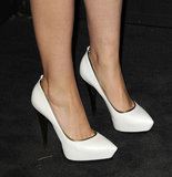 Rose Byrne's black-and-silver Chanel mini-dress got fresh with a pair of white Lanvin pumps.