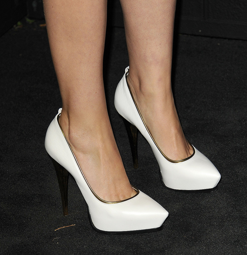 Rose Byrne's black-and-silver Chanel minidress got fresh with a pair of white Lanvin pumps.