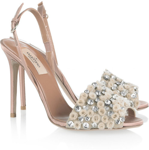 Valentino Crystal-embellished satin sandals