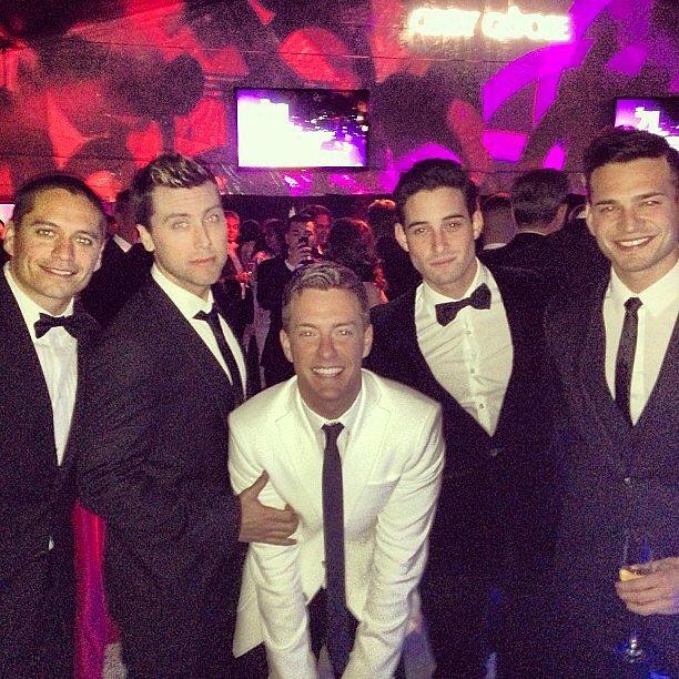 Lance Bass partied with friends at the Elton John Oscars viewing party. Source: Instagram user lancebass