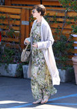 Anne Hathaway wore a long floral dress in LA.