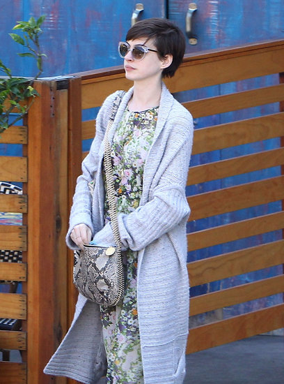 Anne Hathaway wore a floral dress for an LA outing.