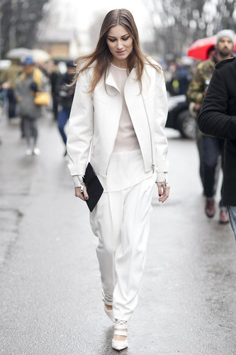 This white on white looks perfectly chic now — but makes us want to fast-forward to Spring.