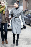 Giovanna Battaglia polished off a classic coat with the perfect belt cinched at the waist.