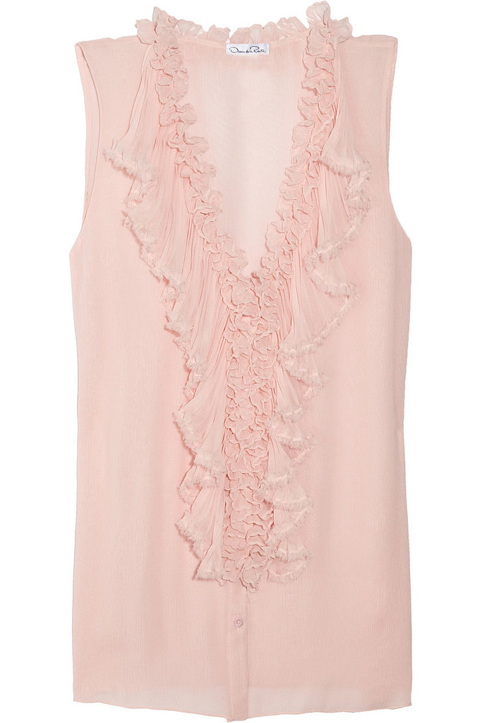 Oscar de la Renta for The Outnet ruffled silk-chiffon top