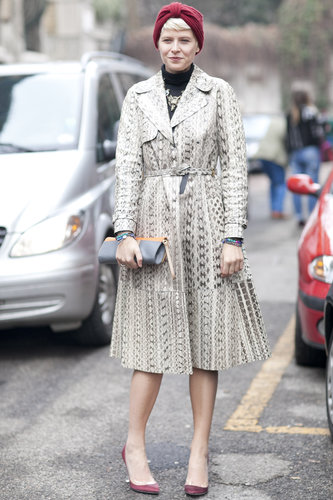 Elisa Nalin gave a ladylike snake-print coat an eclectic finish with a knit turban.
