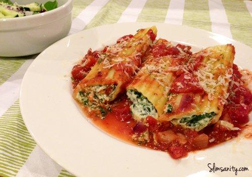 Spinach Stuffed Manicotti