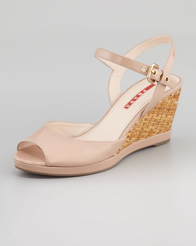 Prada Patent Open-Toe Wicker Wedge Sandal, Nude