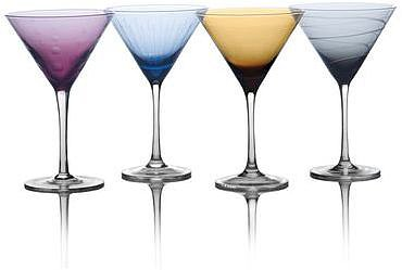 Cheers Color Martini Glasses, Set of 4