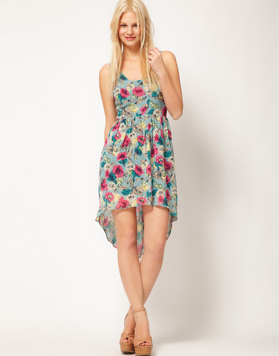ASOS Floral Print Dress With Dipped Back