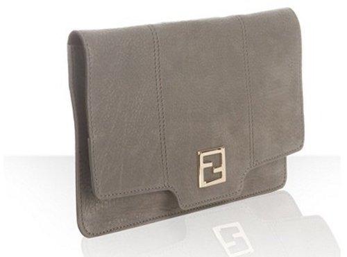 Fendi grey metallic leather convertible clutch
