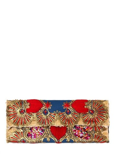 Laurence Heller - Embroidered Sequins Cotton Straw Clutch