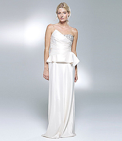 Laundry by Shelli Segal Satin Peplum Gown