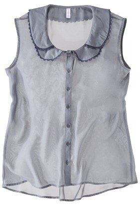 Xhilaration Juniors Sleeveless Peter Pan Collar Top -  Blue