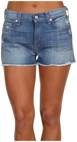 7 For All Mankind  High-Waisted Vintage Cut-Off Short in Distressed Del Azul