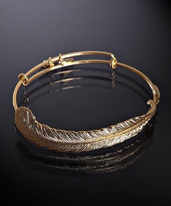 Alex and Ani gold 'Plume' feather expandable wire bangle
