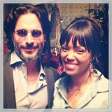 Aisha Tyler and Joe Manganiello kicked back behind the scenes at The Talk.  Source: Instagram user aishatyler