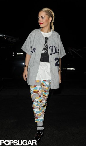 Rita Ora sported casual wear after performing at the Etam lingerie show for Paris Fashion Week in February.
