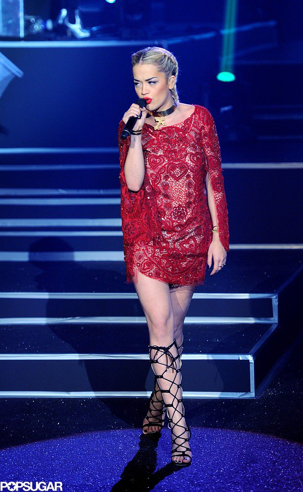 Rita Ora performed at the Etam lingerie show on Tuesday night in Paris.