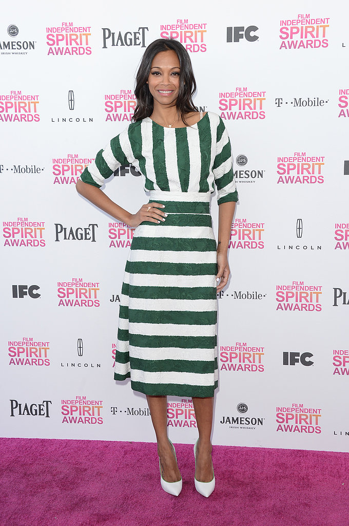 Zoe Saldana matched her green-and-white Casadei Blade heels ($778) with a green-and-white striped Dolce & Gabbana dress at the 2013 Independent Spirit Awards.
