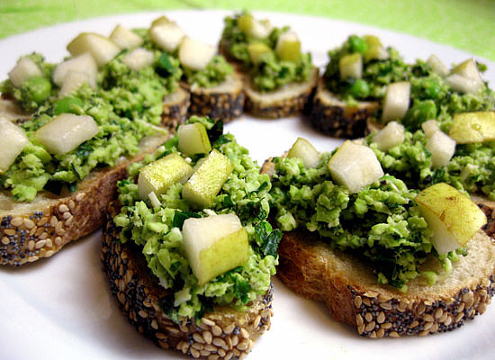 Pear and Edamame Crostini