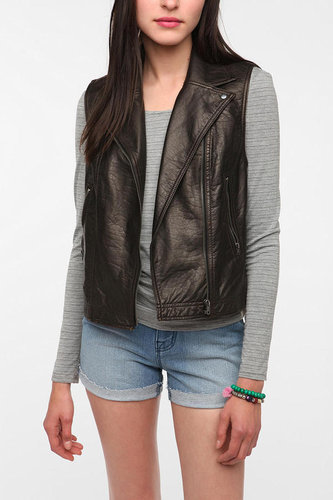 Silence & Noise Faux Leather Moto Vest