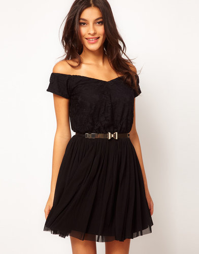 ASOS Lace & Mesh Dress With Off Shoulder