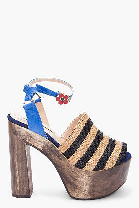 OPENING CEREMONY Rafia Striped Sandal
