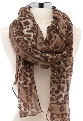 Hidden Skull Leopard Print Scarf