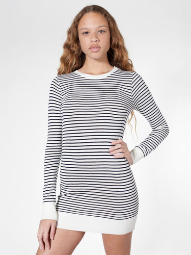 Knit Stripe Sweater Crew Neck Dress
