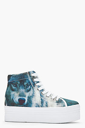 JEFFREY CAMPBELL Blue HOMG Wolf Print Platform Sneakers