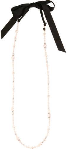 Lanvin Pearl & Ribbon Necklace