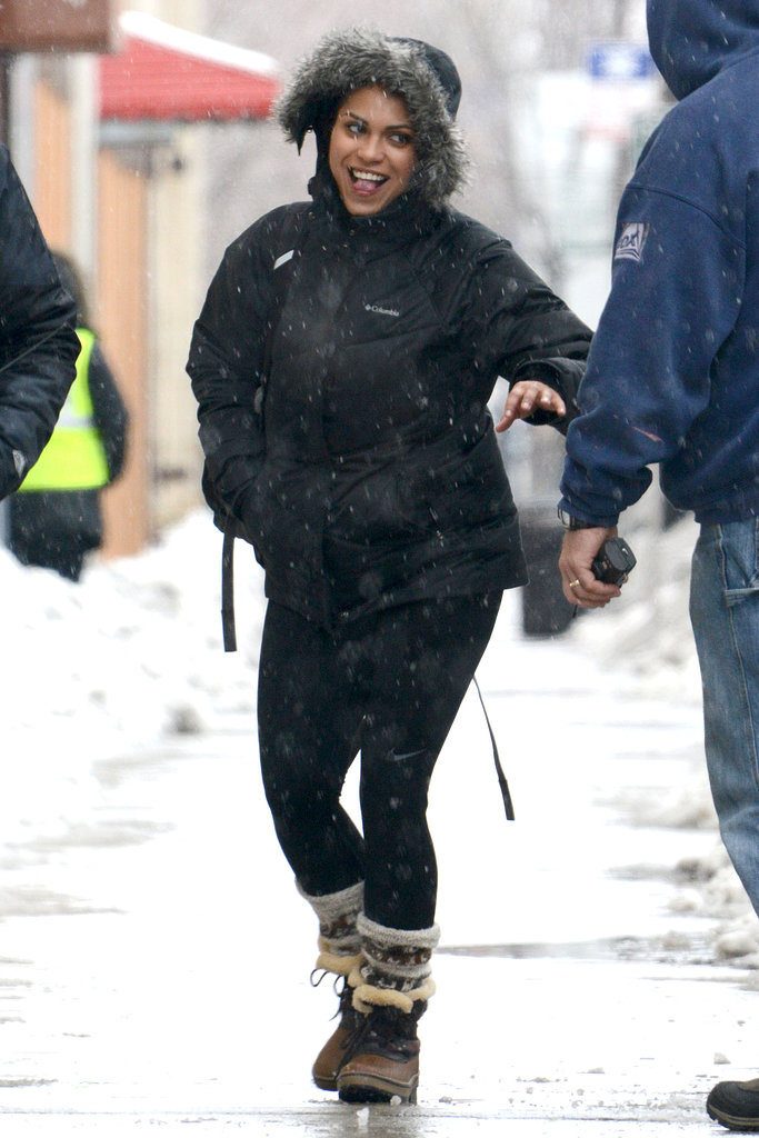 Monica Raymund of Chicago Fire headed to set on Wednesday in Chicago.