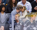 Dax Shepard and Kristen Bell kissed during a Kings hockey game in LA on Wednesday.