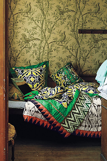 Set the scene for a bright, bohemian bedroom with this patterned quilt ($350-$380, originally $498-$548).