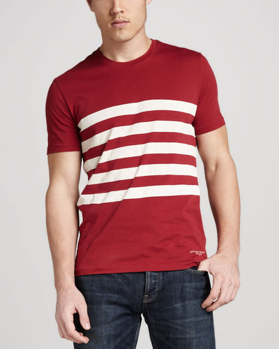Burberry Brit Striped Tee, Military Red
