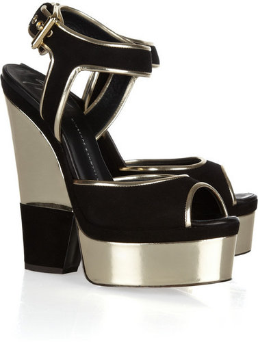 Giuseppe Zanotti Suede and metallic leather platform sandals