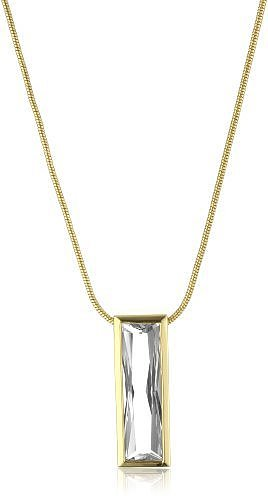 "nOir ""New Cubic Zirconia"" Clear and Gold Modern Bar Necklace"