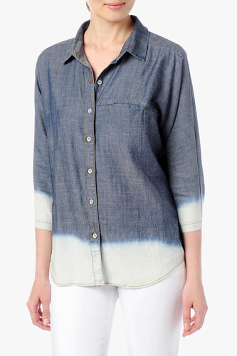Bleach Hem Dolman Denim Shirt In Dark Indigo