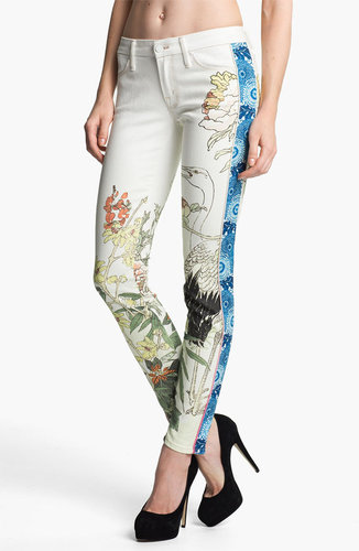 MOTHER &#039;The Looker&#039; Mixed Print Skinny Jeans (The Scent of Sake)
