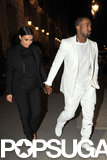 Kim Kardashian and Kanye West walked to the Givenchy fashion show on Sunday.