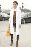 We love the high-impact contrast of leopard-print and crisp white outerwear.