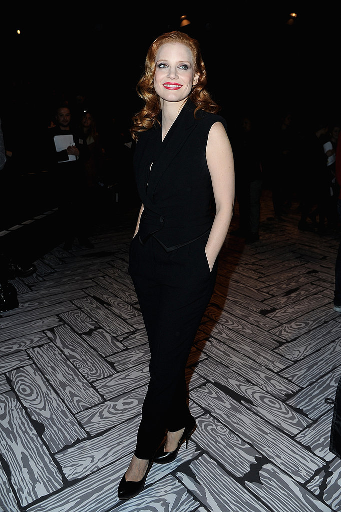 Jessica Chastain arrived at Viktor & Rolf's Saturday show in a chic all black ensemble.