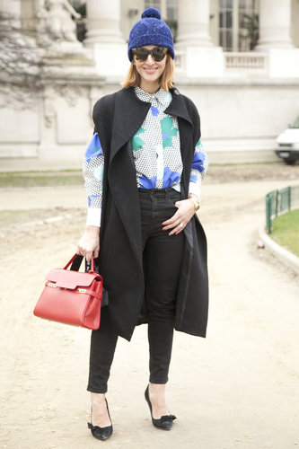 Pops of bright color, playful proportions, and statement accessories were all at work here.