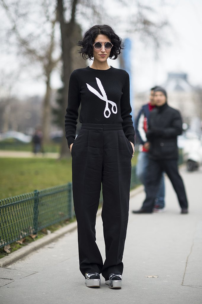 A cheeky sweater, sunglasses, and platforms perked up black trousers. Source: Le 21ème | Adam Katz Sinding