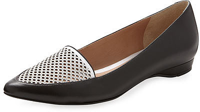 Pour la Victoire Adeana Perforated Pointed Toe Flat, Black/White